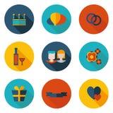 Плоские значки свадьбы Стоковые Фотографии RF