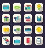 Плоские значки символа покупок электронной коммерции, онлайн элементы a магазина Стоковое Изображение