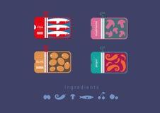 Плоские значки сохранили еду Стоковая Фотография RF