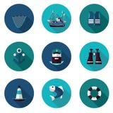 Плоские значки установленные промышленной рыбной ловли Стоковая Фотография RF
