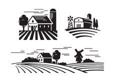 Плоские значки фермы иллюстрация вектора