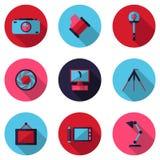 Плоские значки фотографические Стоковое фото RF