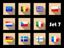 Плоские значки флагов Европы Стоковые Изображения RF