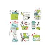 Плоские значки для онлайн покупок Стоковая Фотография