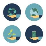 Плоские значки eco Стоковые Изображения