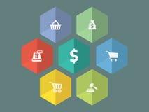 Плоские значки ecommerce дизайна Стоковая Фотография