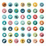Плоские дизайны значка, установленные значки Стоковое Изображение