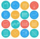 Плоские линии значки дела и финансов Электронная коммерция, SEO, маркетинг, офис бесплатная иллюстрация