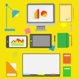 Плоские инструменты специалисту по маркетинга Стоковое фото RF