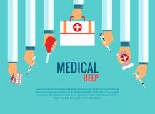 Плоские идеи проекта для медицинского обслуживания иллюстрация вектора