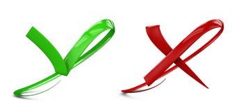 плоские кнопки: зеленые проверка и метка Красных Крестов иллюстрация вектора