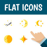 Плоские комплект времени ложиться спать значка звездочки, лунный, Nighttime и других объектов вектора Также включает ночу, луну,  Стоковая Фотография RF