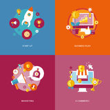 Плоские концепции запуск, бизнес-план, маркетинг, коммерция иллюстрация вектора