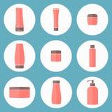 Плоские косметические установленные бутылки также вектор иллюстрации притяжки corel Стоковое Изображение