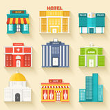 Плоские красочные установленные здания sity вектора иконы Стоковое Изображение