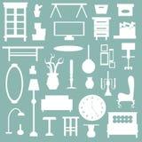 Плоские мебель бытового устройства и значок внутреннего художественного оформления Стоковые Изображения