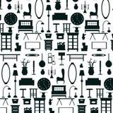 Плоские мебель бытового устройства и картина значка внутреннего художественного оформления Стоковое Фото
