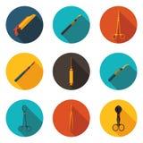 Плоские медицинские инструменты значков Стоковые Изображения RF
