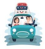 Плоские молодые путешественники Автомобиль с много сумками на предпосылке вектор каникулы цветастой иллюстрации принципиальной сх Стоковая Фотография RF
