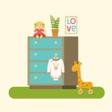Плоские одежды ящиков, куклы, завода, изображения и младенца младенца также вектор иллюстрации притяжки corel Стоковое Изображение RF