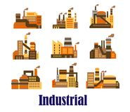 Плоские промышленные значки заводов и фабрик Стоковые Изображения