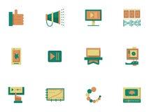 Плоские простые значки для видео- blogging бесплатная иллюстрация