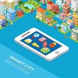 Плоские равновеликие здания знонят по телефону умному vect app города Стоковое фото RF