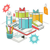 Плоские равновеликие передвижные покупки 3d Стоковое Изображение