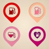 Плоские символы насоса топливного бака сердца Стоковая Фотография