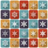 Плоские снежинки установленные pictograms интернета икон vector вебсайт сети бесплатная иллюстрация