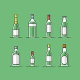 Плоские установленные значки бутылки вектора Стоковые Изображения