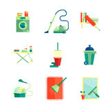 Плоские установленные значки домоустройства Стоковое Фото