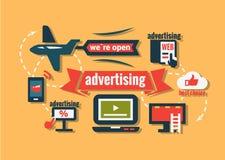 Плоские установленные значки рекламы иллюстрация вектора