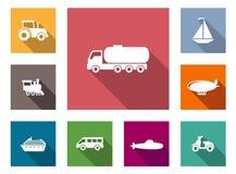 Плоские установленные значки транспорта Стоковая Фотография
