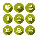 Плоские установленные значки eco вектора Стоковые Фотографии RF