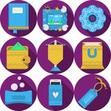 Плоские фиолетовые значки для handmade подарков Стоковое Изображение RF