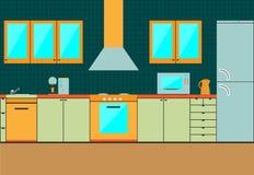 Плоские шкафы интерьера кухни воцарения иллюстрация штока