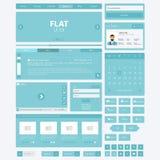 Плоские элементы вебсайта, наборы Ui также вектор иллюстрации притяжки corel Стоковое Изображение