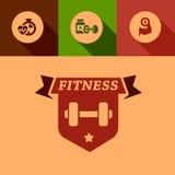 Плоские элементы дизайна фитнеса Стоковое Изображение