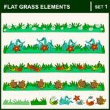 плоские элементы травы Стоковые Изображения RF