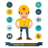 Плоские люди значков с инвалидностью Стоковые Фотографии RF