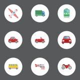 Плоский автобус значков, грузовик, автомобиль и другие элементы вектора Комплект автоматических плоских символов значков также вк Стоковые Изображения