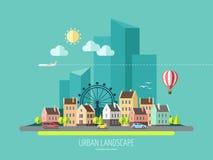 Плоский ландшафт города дизайна Иллюстрация вектора