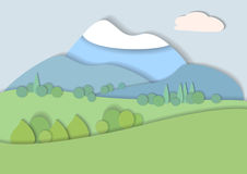 Плоский ландшафт природы дизайна Стоковое фото RF