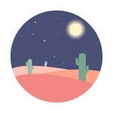 Плоский ландшафт пустыни ночи шаржа с силуэтом кактуса в круге стоковые фото
