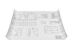 Плоский архитектурноакустический чертеж и план Стоковая Фотография