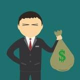 Плоский бизнесмен персонажа из мультфильма в костюме который Стоковое Изображение RF