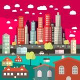 Плоский вектор города дизайна Стоковые Изображения RF