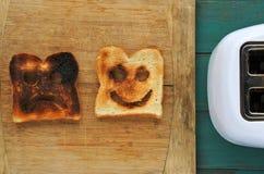 Плоский взгляд положения 2 кусков провозглашанного тост хлеба Стоковые Изображения