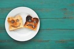 Плоский взгляд положения 2 кусков провозглашанного тост хлеба Стоковое Фото